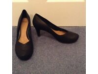 Clarks Plus Shoes, black tortoiseshell pattern size 8. Used once, very good condition.