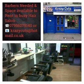 Seeking experience Barbers and Hairdressers & Space available for rent in an Established Hair Salon