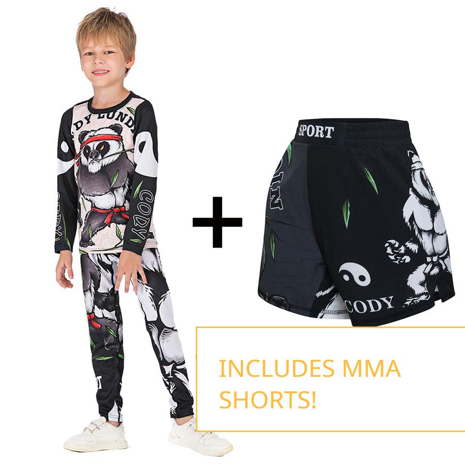 Kids Brazilian Jiu Jitsu Rashguard + Spats + MMA Shorts For