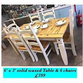 6' x 3' Solid wood table and six chairs professionally painted REDUCED