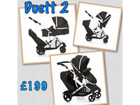 BRAND NEW HAUCK DUETT 2 BLACK tandem twin double buggy PRAM PUSHCHAIR With raincover LIKE ICANDY
