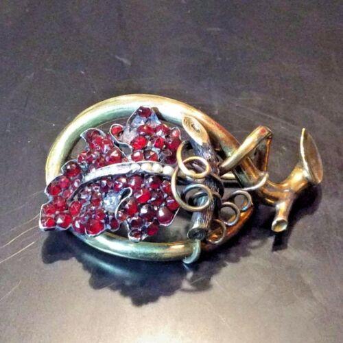 Bohemian Garnet Seed Pearl Enamel Mixed 15K Gold Sterling Silver Pin Brooch 14k