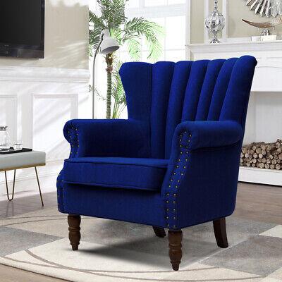 Vintage Wing Scallop Retro Armchair Tub Chair Queen Anne Fabric Nailhead Blue