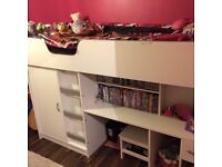 Children's white cabin bed