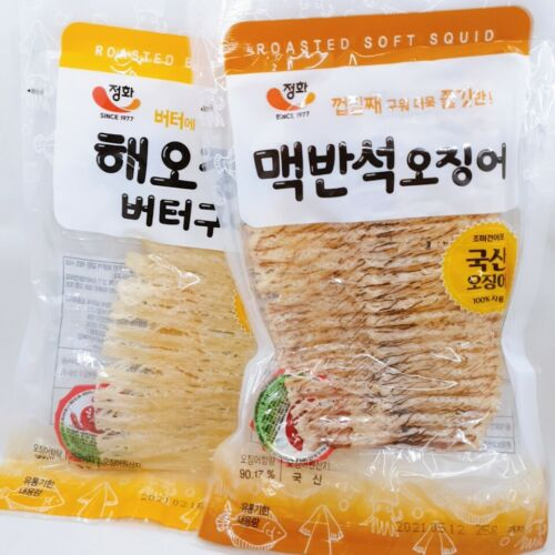 Dried and Roasted Squid Snack - Korean Squid Jerky - Various Flavors - 4 packs