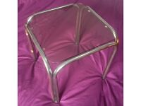 "Vintage Glass Topped Coffee / Side Table / 14"" Square"