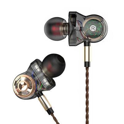 Dual Dynamic Driver Headphones Sport Earphone Super Bass Headset Stereo -