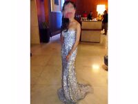 Nude embellished, sequinned fish tail formal dress UK size 4