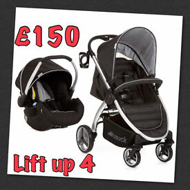 HAUCK LIFT UP 4 TRAVEL SYSTEM PRAM PUSHCHAIR CAR SEAT BLACK SUITABLE FROM BIRTH IN BLACK SILVER