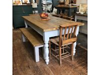 Rustic reclaimed 6ft farmhouse table and bench