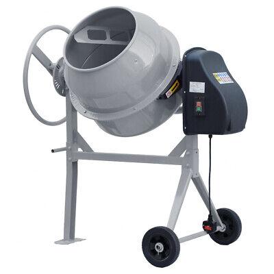 140L Litre Grey Electric Cement Mixer Concrete Mortar Drum Machine Freestanding