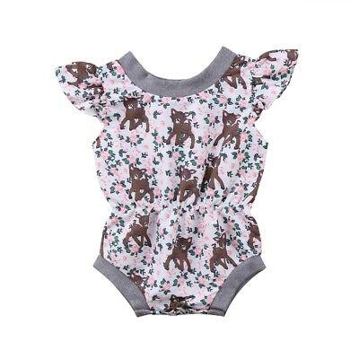 US Infant Baby Girl Bodysuit Romper Outfit Top Lamb Jumpsuit Cute Animal Top  6M - Lamb Jumpsuit