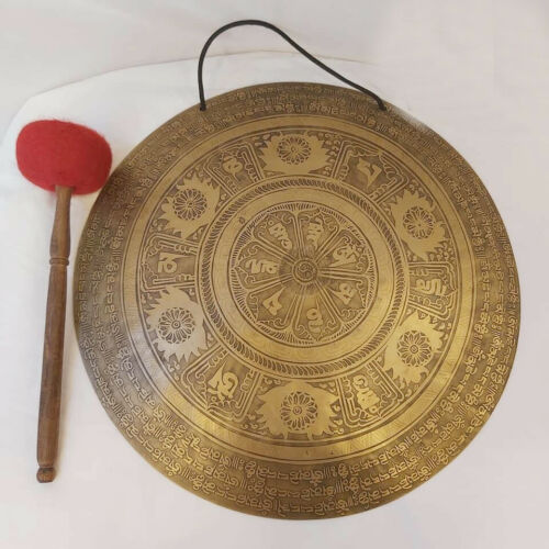 19 inches Mantra carved temple gong-Handmade gong from Nepal-Chakra Healing