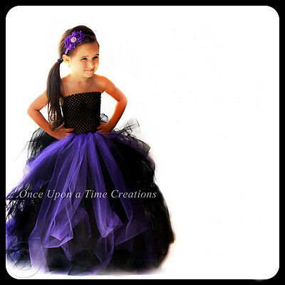 Little Black Dress Halloween (Black & Purple Witch Little Girls Size Tutu Dress 2T 3T 4T 5T Halloween Costume)