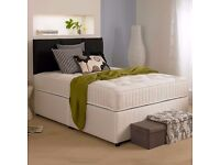 BLACK WHITE & CREAM COLORS!! BRAND NEW DOUBLE DIVAN BED WITH ROYAL 1000 POCKET SPRUNG MATTRESS -