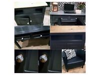 Black leather armchair,xl sideboard,desk,display table,beauty table,storage tv unit & coffee table