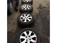 Peugeot 307 set of 4 alloy wheels 4 stud tyre size 195 65 r15 2 legal tyres