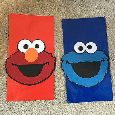 Elmo Bags (Elmo or Cookie Monster Party Favor bags. Set of 12. Great for Birthday)