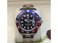New Boxed black dial blue red bezel and silver bracelet Rolex GMT Master II Comes Rolex Bagged