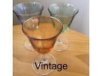 3 vintage attractive, lightly coloured, flared bowls, stemmed glasses - amber, green and blue.£3 lot