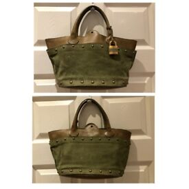 Chloe Green Suede and Brown Leather Studded Handbag with Padlock & Key