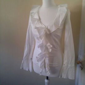 Formal white blouse with frills UK size 10