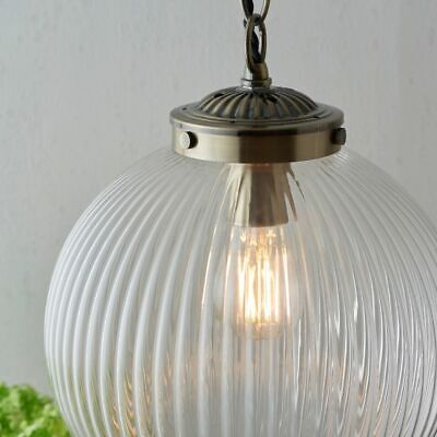 Single Light Pendant Art Deco Ceiling Fitting Ribbed Glass & A. Brass Dia: 25cm