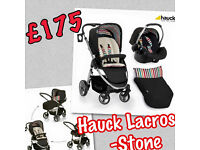 NEW HAUCK LACROSSE 2 IN 1 TRAVEL SYSTEM PRAM PUSHCHAIR PARENT FACING UNISEX BLACK STONE FR BIRTH
