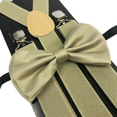 Beige Color Bow Tie And Suspender Set Tuxedo Wedding Prom Party Suit U.S Seller