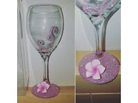 Pink jazzle wine glass. Boxed. £10