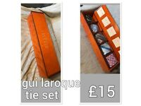 GUI LAROQUE TIE SET AND BOX