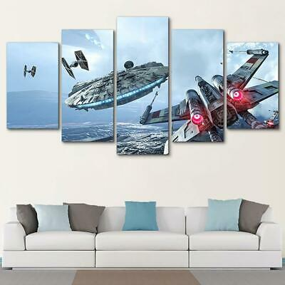 Star Wars Movie Spaceship Battle Scene Framed 5 Piece Canvas Wall Art Painting (Star Wars Battle 5 Piece Canvas Painting)