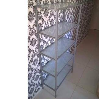 Large Glass and Silver Metal Shelving Display Storage MAKE OFFERS