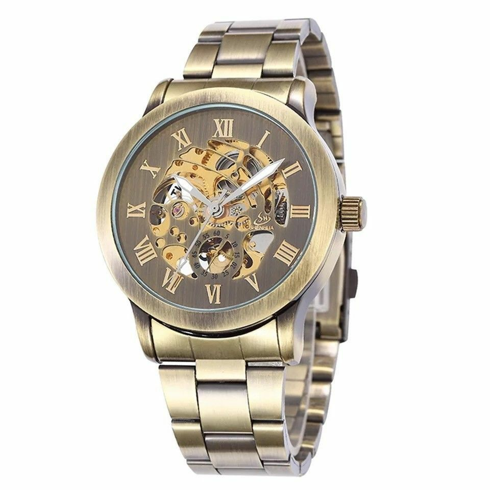 Shenhua Classic Mens Transparent Skeleton Automatic Mechanical Band Wrist Watch