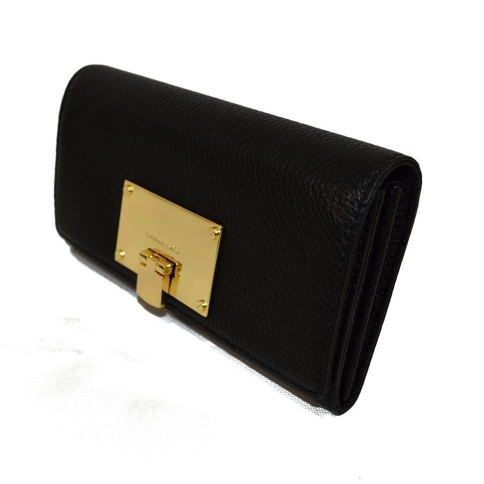 Michael Kors Channing Carryall Black Leather Clutch Wallet.