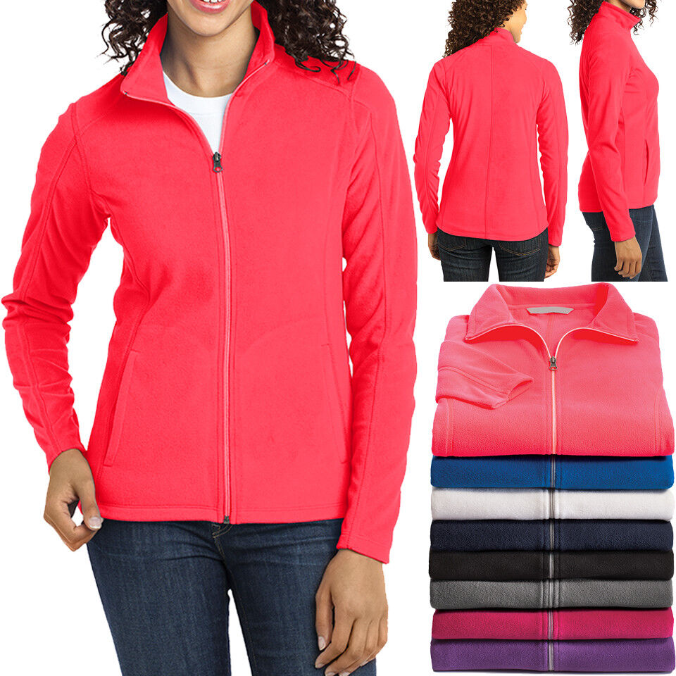Ladies Plus Size Micro Fleece Jacket Full Zip with Pockets W