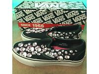 VANS Pink Skull Canvas Slip Ons {UK 6}