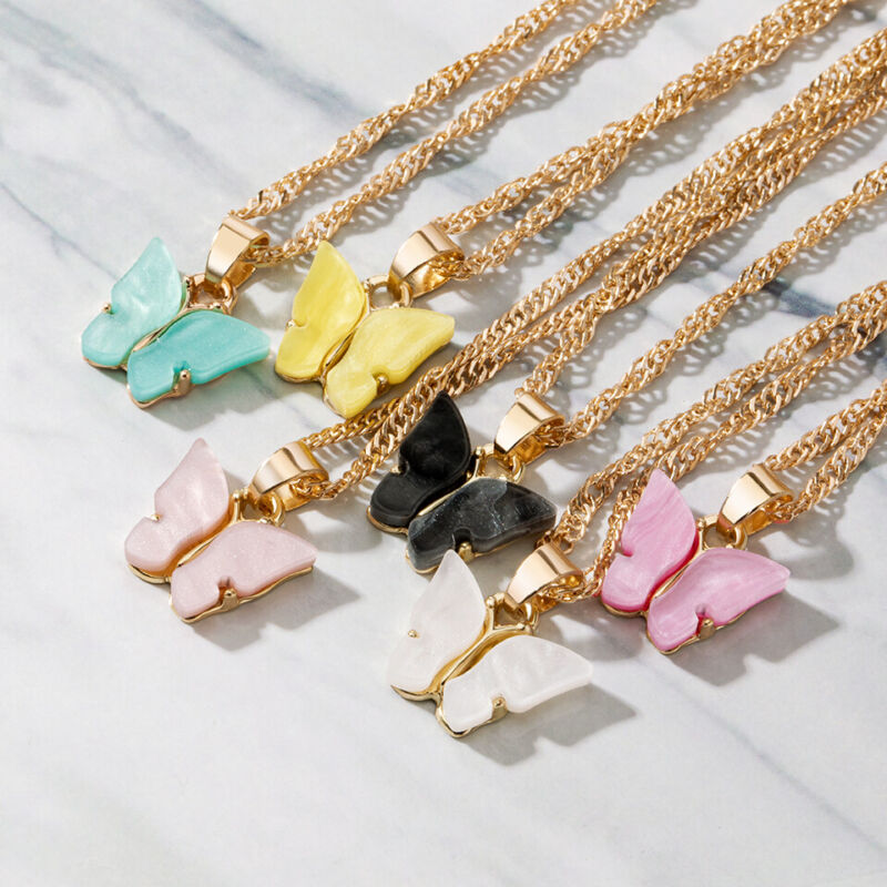 Fashion Butterfly Acrylic Sequins Pendant Necklace Clavicle Women Jewelry 20pcs