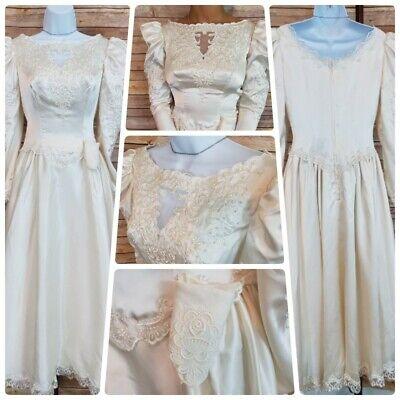 Vintage 1950s Wedding Dress Satin Tea Length Ivory Long Sleeve Size 2-4