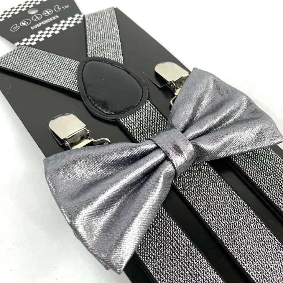 Metallic Silver Glitter Suspender and Bow Tie Set Tuxedo Wed