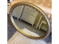 Vintage gold oval mirror