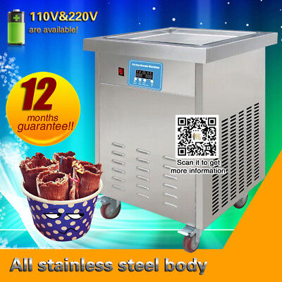 free shipping,20*20 inch big square pan thai fried ice cream machine,r410a,110v