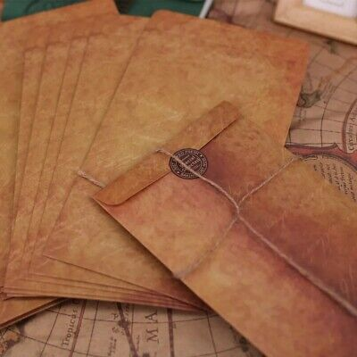10pcs Vintage Kraft Paper Envelopes - Brown, 12x20 cm - UK Stock