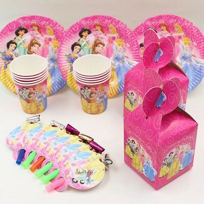 40 Pcs Set For 10 People Princess Theme Kids Birthday Party Supplies.