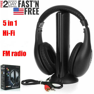 5 in 1 Headset Wireless Headphones Cordless RF Earphones for PC TV DVD MP3 -