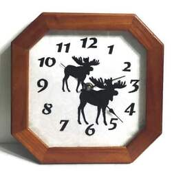 "Moose Wall Clock Sterling & Noble 10"" Wooden Octagon Cabin Lodge Hunter Hunting"