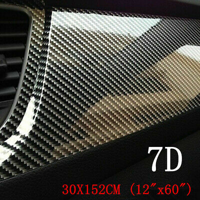 Accessories Carbon Fiber Vinyl Film 7D Car Interior Wrap Stickers Moulding Trim