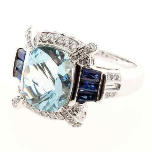 Classic Art Deco Design Cushion Cut Aquamarine With Blue & White Sapphire Ring