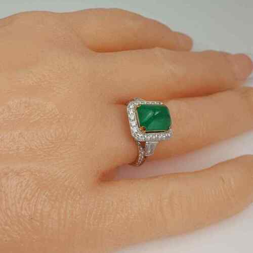 4.78CT Sugarloaf Cabochon Colombian Emerald With Old Mine Cut CZ Edwardian Ring
