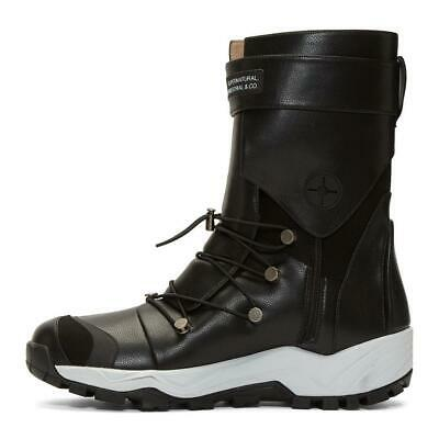 SOLD OUT! NEW! Xander Zhou Black Lace-Up Boots Men's sz 10, 43 hook loop Vibram